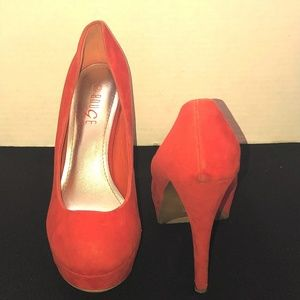 Rouje Helum Tangerine Platform heels
